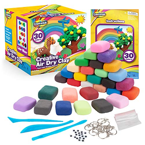 Creative Kids Air Dry Clay Modeling Crafts Kit For Children - Super Light Nontoxic - 30 Vibrant Colors & 3 Clay Tools - STEM Educational DIY Molding Set - Easy Instructions – Gift For Boys & Girls 4 +