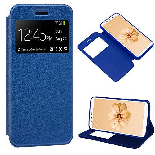 iGlobalmarket Funda Flip Cover Tipo Libro con Tapa para Xiaomi Mi A2 / Mi 6X Liso Azul