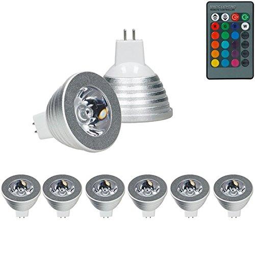 ECD Germany 6er Pack MR16 RGB LED Spot 3W - Dimmbar - DC 12V - 16 Farben - farbwechsel - 247 Lumen - Abstrahlwinkel 30° - mit IR-Fernbedienung 24 Tasten - Licht Leuchtmittel Strahler