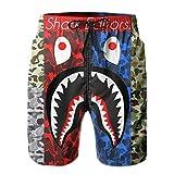 Men's Funny 3D Print Camo B-a-pe Shark Art Swim Trunks Quick Dry...