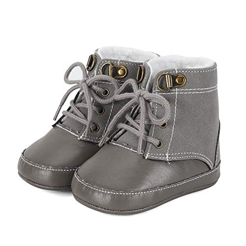 ESTAMICO Infant Boys Warm Snow Boots Cowboys Toddler Non Skid Soft Sole Waterproof Winter Ankle Shoes, Gray 0-6 Months