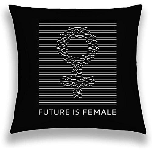 mallcentral-EU Funda de Almohada de Lino Funda de cojín Lema de la Moda Futuro Feminista roath Líneas Diseño Imprimir Parches Bordados Niñas Símbolo de Mujer