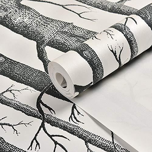TLMYDD Birkenbaum 3D Massivholz Wald Persönlichkeit Wohnzimmer Kunst Tapete  Hintergrund