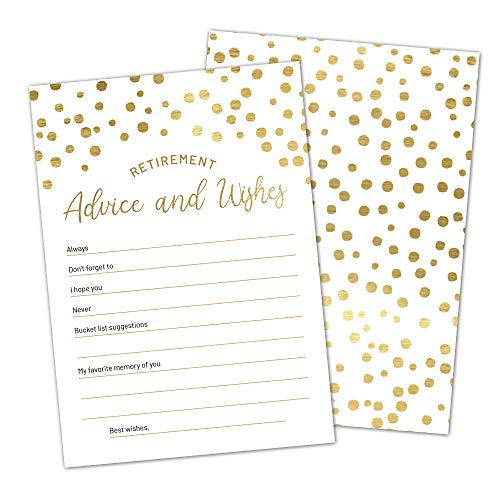 Gold Retirement Advice and Wishes Cards by Hat Acrobat   Perfect for Happy Retirement Party Games, Decorations, Supplies, for Men and Women, Pack of 50