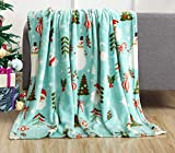 Elegant Comfort Luxury Velvet Super Soft Christmas Prints Fleece Blanket-Holiday Theme Home Décor Fuzzy Warm and Cozy Throws for Winter Bedding, Couch and Gift, 50 x 60 inch, Santa Snowman Teal