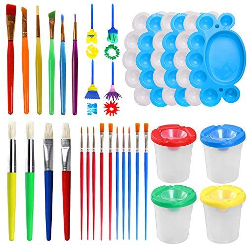 Leslady 34Pcs Bambini Set Spugna per Pittura, Kit di Spugne Paint Spugne per Bambini Lavabile Set, la Pittura di DIY Arte e Mestieri