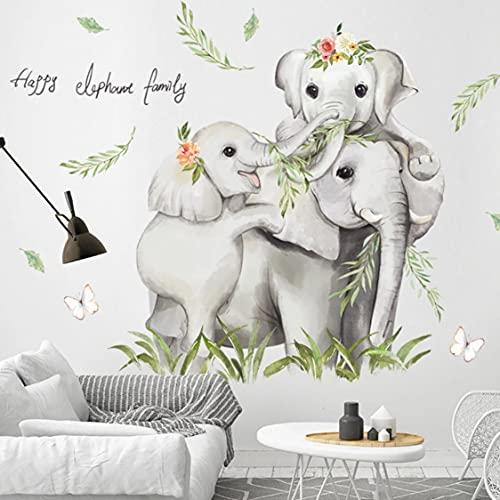 Rjjrr Dibujos Animados Safari Jugle 3 Elefantes Familia Bebé Pegatinas De Pared Guardería Niños Habitación Pared Calcomanías Pvc Hogar Dormitorio Decoración Pegatina Decor