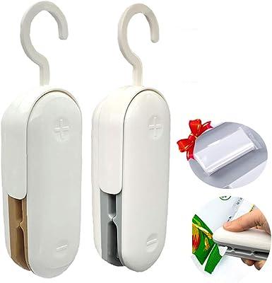 Mini sellador de bolsas, paquete de 2 selladores de vacío portátiles de plástico, sello de calor 2 en 1 y cortador de calor, sellado de alimentos de mano para bolsas de chips y bolsas de plástico, ayudante de almacenamiento de alimentos (gris+marrón)