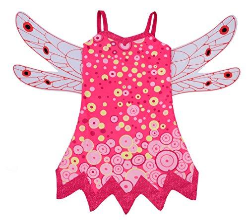 Lito Angels Mädchen Kostüm Verrücktes Kleid Feenhaftes Kleid Festkleid Weihnachten Halloween Party Verkleidung Karneval Cosplay mit Flügeln Größe 5-6 Jahre Mia