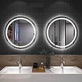 Amorho 50cm Redondo Espejo Baño Espejo de Pared Espejo Colgante Dormitorio Función Antivaho con Luz LED Interruptor Táctil 15 Temperatura de Color Ajustable