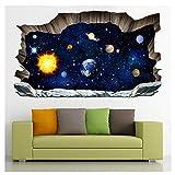XLGX 3D Planète de l'espace mur brisé Paysage Stickers Muraux Peinture Murale...