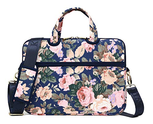 KAYOND Blue Camellia Patten Canvas Laptop Shoulder Messenger Bag Case Sleeve for 14Inch Laptop and Macbook Pro A1707 (14-14.1 inch, Blue Camellia)