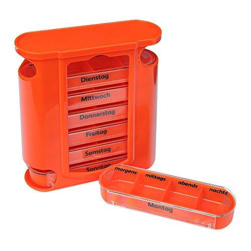 Schramm® Tablettenbox orange mit orangen Schiebern 7 Tage Pillen Tabletten Box Schachtel Tablettendose Pillendose Pillenbox Tablettenboxen Pillendosen Pillen Dose Wochendosierer