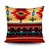 SVITFAMLI Throw Pillow Covers Southwestern Aztec Navajo Tribal Pattern Native Traditional Mexican Stripes Southwest Decorative Pillow Case Home Decor Square 18 x 18 Inches Pillowcase for Sofa Couch