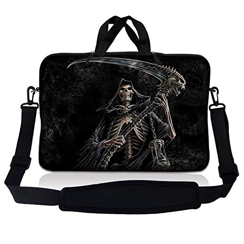 Laptop Skin Shop 17-17.3 inch Neoprene Laptop Sleeve Bag Carrying Case with Handle and Adjustable Shoulder Strap - Reaper Skull