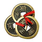 Divya Mantra Feng Shui Chinese Lucky Fortune I-Ching Dragon Coin Ornaments Wealth Charm Amulet Three Bronze Metal Coins with Hole and Red Ribbon Knot for Good Money Luck, Decoration Charms – Copper