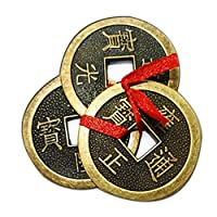 """The 3 chinese coins are tied with red ribbon & hole at center to symbolize good luck & wealth. Placement: Wealth sector like purse, pocket, wallets, handbag, cash register to attract money The dimensions of each of coins with red ribbon are 1.5"""" inch..."""