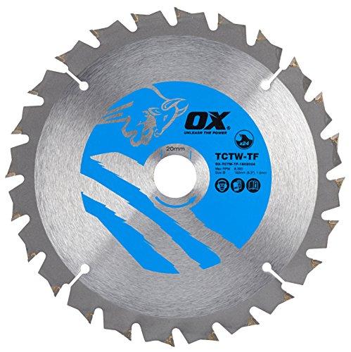 OX Wood Cutting Thin Kerf Circular Saw Blade 160/20mm, 24 Teeth ATB