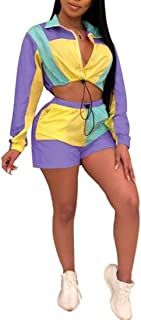 FSSE Womens 2 Pcs Outfits Color Blocked Athletic Jacket Shorts Short Crop Tracksuit Sets