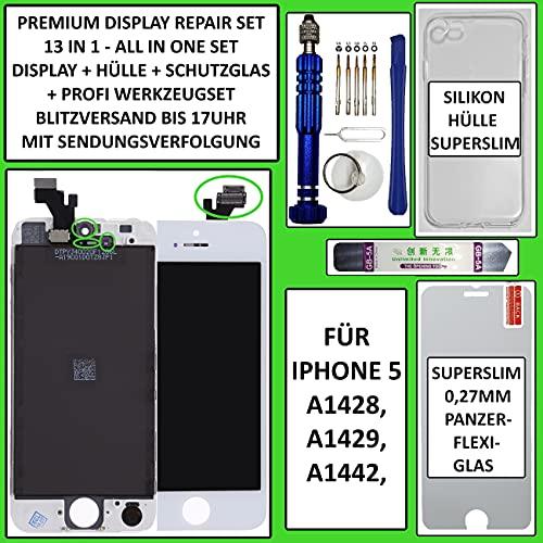 PHONEPOINT24.COM Pantalla LCD táctil para iPhone 5 Retina (cristal), color blanco