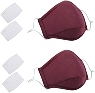 2 Pack Face Covers with 4 Air Filter Cotton Liner Washable Reusable Face Protector with Adjustable Straps-Jujube Red