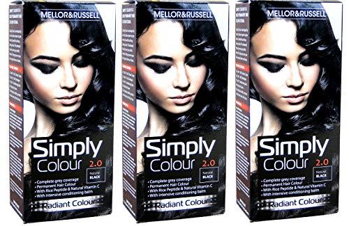 3 X Mellor & Russell simplement Couleur Coloration permanente 2.0 Noir naturel