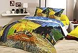 Deco Italia Set Copripiumino copriletto Van Gogh caffè ad Arles 100% Cotone | Matrimoniale 250 x 240 cm + 2 federe 50 x 80 cm