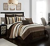 Stratford Park Rosanna 8-Piece Bedding Bedroom Comforter Set, Brown, Bed Size California King with Matching Shams and Decorative Pillows