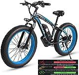 Bicicleta electrica Bicicleta de montaña eléctrica para adultos, bicicleta eléctrica Tres modos de trabajo, 26 'Neumático de grasa MTB 21 veloz Engranaje Bicicleta eléctrica para hombres mujeres