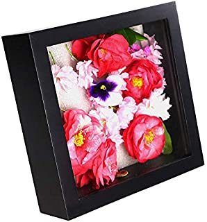 Ray & Chow Black 8x8 inch 3D Photo Frame Deep Box Frame Shadow Box Frame for Flowers,Art Crafts,Wedding Gifts etc.- Glass Window- Solid Wood - Interior Depth: 3CM- Table Top Display or Wall Hanging