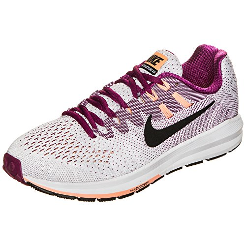 Nike Wmns Air Zoom Structure 20, Zapatillas de Running Mujer, Blanco (White/True Berry/Sunset Glow/Black), 38 EU
