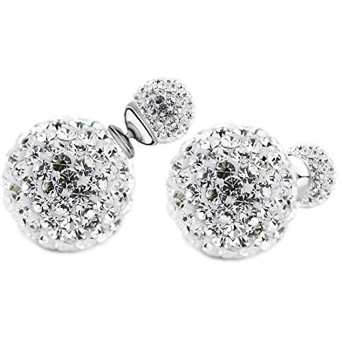 Pendientes de mujer con doble cierre con bolas de perlas, brillantes Shamballa, circonitas, parte delantera trasera, perla, redondos, dos