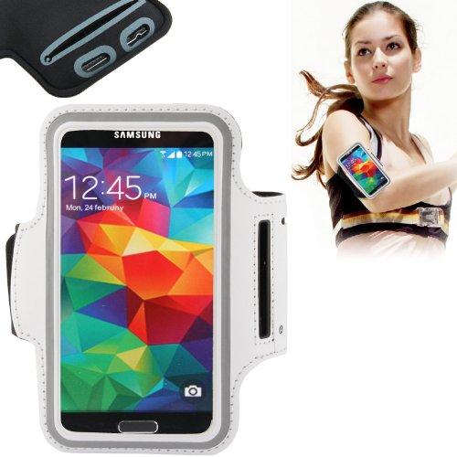 Brazalete Torre brazo puerta Smartphone, ideal para actividad de deportes (Carrera o Gym), con bolsillo para llaves y trabillas para casco para Samsung Galaxy S3–S4/S4Mini–Note–Note2–iPhone 4/4S–5/5S.