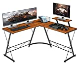 Mr IRONSTONE L-Shaped Desk 50.8' Computer Corner Desk, Home Gaming Desk, Office Writing Workstation with Large Monitor Stand, Space-Saving, Easy to Assemble, (Vintage)
