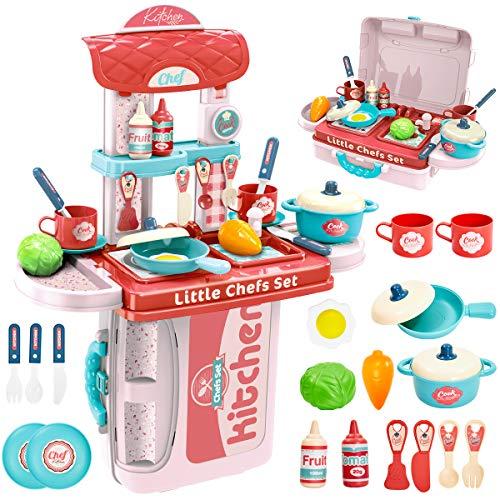 Kinderküche im Koffer - BUYGER 3 in 1 Küchenspielzeug Küche und Küchen Zubehör