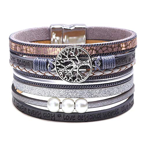Tree of Life Wrap Boho Leather Wide Cuff Handmade Wristbands Braided Magnetic Buckle Bangle Bracelet Gift for Women Girl (Tree grey)
