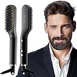 ANLAN Cepillo Alisador de Barba con 5 Niveles de Temperatura, Cepillo Barba Electrico Plancha de Pelo Flequillo Eléctrico Profesional Peine de Peluquería Multifuncional Cepillo para Hombre Mujer