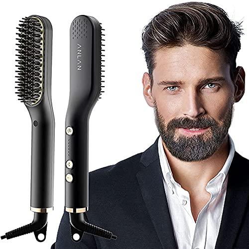 ANLAN Nuevo Cepillo Alisador de Barba con 5 Niveles de...