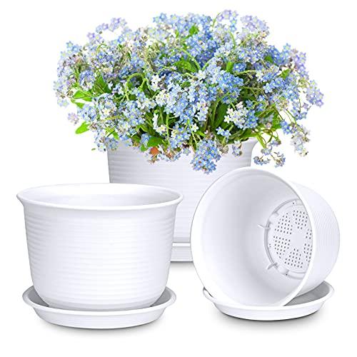 3 vasi per piante, in plastica, con sottovaso, diametro 21 cm, colore bianco