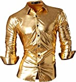 jeansian Herren Freizeit Hemden Bronzing Slim Button Down Long Sleeves Dress Shirts Tops Z036 Gold...