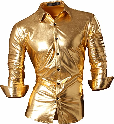 jeansian Herren Freizeit Hemden Bronzing Slim Button Down Long Sleeves Dress Shirts Tops Z036 Gold XXL