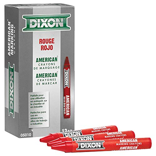 Industrial Round American Marking Crayons, Red, Pack of 12 (05010) (New Version)