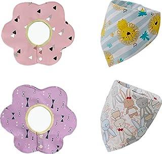 مريلات أطفال 4 حزم، 360 درجة دوران مرايل لعاب الطفل باندانا مريلات، مرايل قطنية ناعمة وذات قدرة على الامتصاص