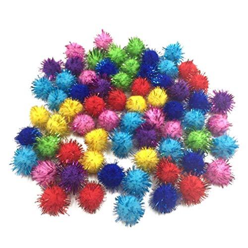 KESYOO 200 Piezas de Bolas de Pompones Brillantes Mini Pompones Multicolor DIY para Decoración del Hogar Decoración de Navidad Arte Artesanal