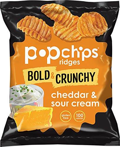 Popchips Ridges Potato Chips, Cheddar & Sour Cream, 0.8 Ounce Single Serve Bag (Pack of 72)