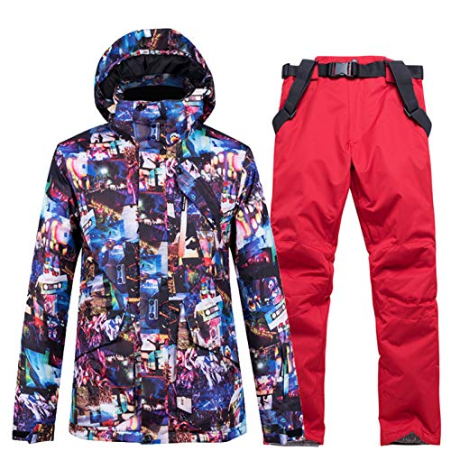 YSML Outdoor wasserdichte Herrenjacke und Hosen Winddicht Bewahren Sie warmes Bergsteigen Skifahren Snowboarding Erwachsene Winter Zwei Stück Schneeanzug,Rot,XL
