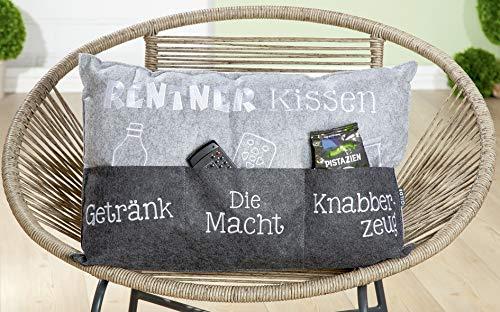 Endlich ist das Rentner Kissen da - Deko Couch Sofa Kissen Zierkissen Kuschelkissen ca 60 x 39 cm Geschenk Idee Opa zu Ostern Geburtstag Weihnachten (Männerkissen)