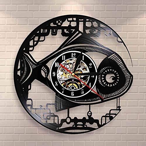 CCGGG Reloj de Pared con diseño de pez Robot Retro Reloj de Disco de Vinilo de pez mecánico Reloj de pez de Engranaje de Arte de Pared Moderno Hecho a Mano