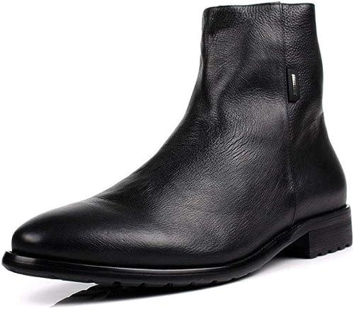 De los hombres botas de PU Antideslizante Puntiagudo Botines estilo británico Cremallera lateral botas oxford Baja ayuda botas de martin