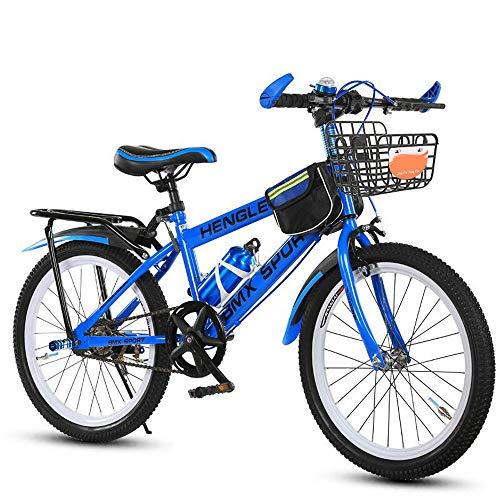 FLYFO Single-Speed-Kinderfahrrad, 20/22 Zoll Mountainbike Für Jungen Und Mädchen, 6-12 Jahre Alte Fahrräder, MTB,Blau,22inches